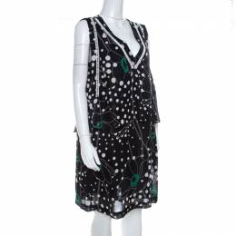 See By Chloe Black Floral and Dot Print Linen Blend Layered Sleeveless Dress M 220171