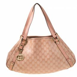 Gucci Blush Pink GG Crystal Canvas and Leather Abbey D Ring Hobo 219953
