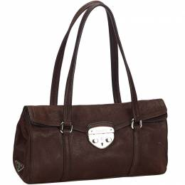 Prada Dark Brown Leather Shoulder Bag 215235