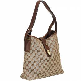Gucci Brown GG Jacquard Hobo Bag 214247