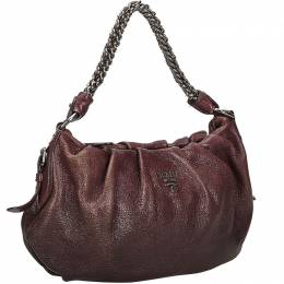 Prada Brown Leather Chain Shoulder Bag 214645