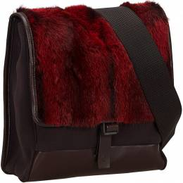 Prada Red/Black Fur Canvas Crossbody Bag 214642