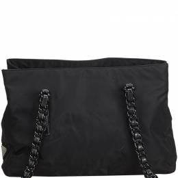 Celine Black Nylon Chain Shoulder Bag Prada 216851