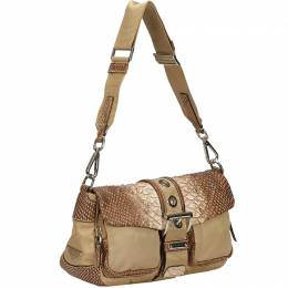 Prada Light Brown Nylon Python Leather Shoulder Bag 214633