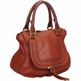 Chloe Red Leather Marcie Top Handle Bag 215283