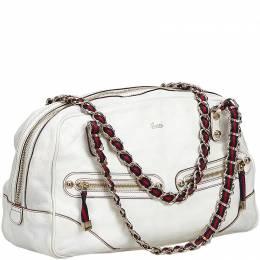 Gucci White Leather Princy Chain Duffle Bag 214117