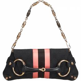 Gucci Black/Pink GG Canvas and Satin Small Limited Edition Tom Ford Horsebit Web Chain Clutch 214915