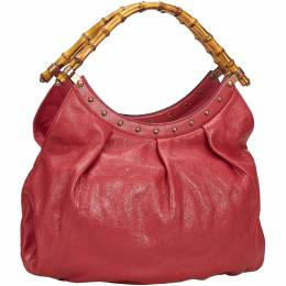 Gucci Red Leather Bamboo Handle Shoulder Bag 209583