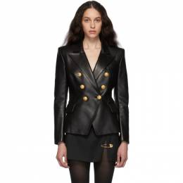 Balmain Black Leather Double-Breasted Jacket 192251F06400201GB