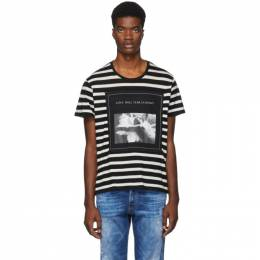 R13 Black and White Striped Joy Division Boy T-Shirt 192021M21300104GB