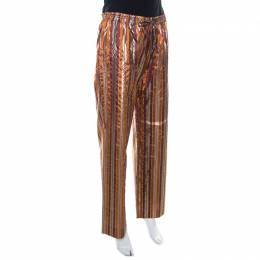 Celine Brown Metallic Striped Silk Straight Fit Trousers L 220381