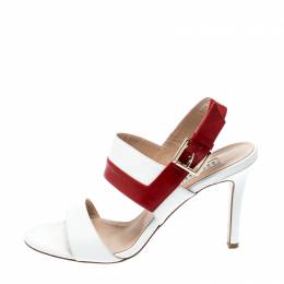 Fratelli Rossetti White/Red Leather Open Toe Buckle Slingback Sandals Size 38.5 223460