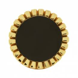 Bottega Veneta Gold and Black Signet Ring 590902 VAHU4