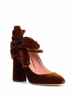 Rochas - бархатные туфли-лодочки с аппликацией в форме цветка 9699A936563950000000
