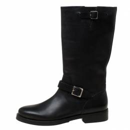 Burberry Black Leather Buckle Knee High Boots Size 41 220877