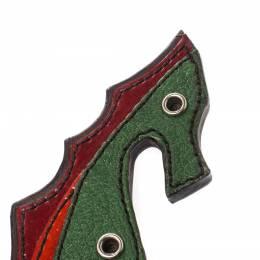 Prada Multicolor Leather Seahorse Pin Brooch 221797