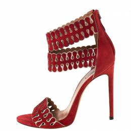 Alaia Red/Silver Laser Cut Suede Open Toe Double Strap Sandals Size 41