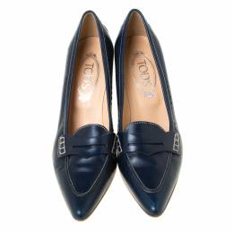 Tod's Navy Blue Leather Penny Loafer Pointed Toe Pumps Size 39 221773