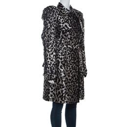 Dolce&Gabbana Grey Leopard Pattern Textured Silk Puff Sleeve Trench Coat L 221774