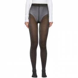 Marc Jacobs Black and Silver Ribbed Tights 192190F07601001GB