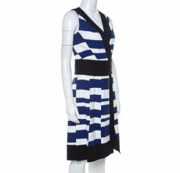 Proenza Schouler Blue White & Black Striped Sleeveless Paneled Dress S 223716
