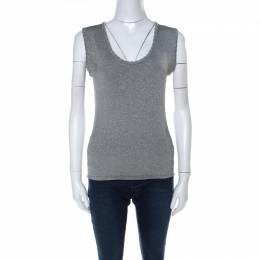 M Missoni Grey and Gold Lurex Knit Sleeveless Top M 222139