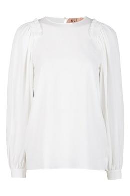 Белая блузка с оборками на плечах No. 21 35143759