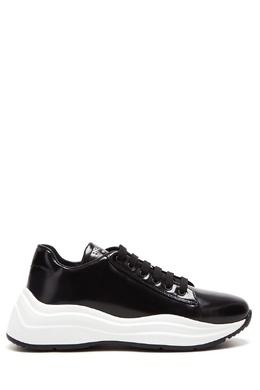 Черные кроссовки с белой подошвой Prada 40150367