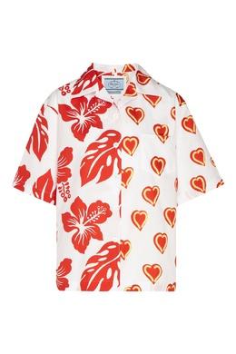 Белая блузка с принтом Prada 40150465