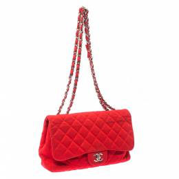 Chanel Red Quilted Fabric Jumbo Classic Single Flap Bag 216614