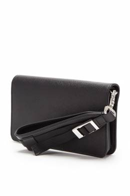 Кожаный клатч с короткой ручкой Prada 40151124
