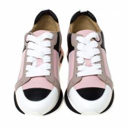 Hermes Multicolor Leather Rebus Lace Up Sneakers Size 35 224585