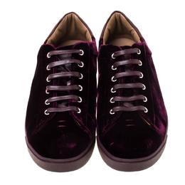 Gianvito Rossi Burgundy Velvet Loft Low Top Sneakers Size 41.5 224512