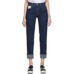 Stella McCartney Blue Logo Cuff The Skinny Boyfriend Jeans 192471F06900905GB
