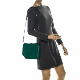 Bally Green Leather Corner Shoulder Bag 222821