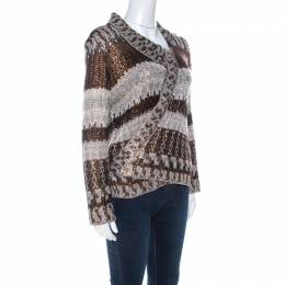 Oscar De La Renta Brown & Bronze Silk Knit Cardigan L 223626