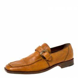 Fratelli Rossetti Brown Leather Monk Strap Loafers Size 44.5 225104