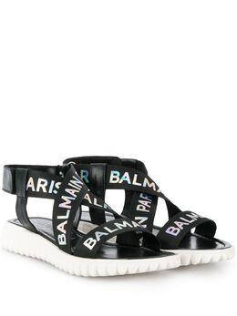 Balmain Kids сандалии с перекрестными ремешками 6K0556KX360930AG