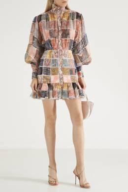 Платье пэчворк из шелка и льна Zimmermann 1411150968