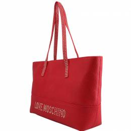Love Moschino Red Pebbled Synthetic Leather Tote Raymond Weil 224239