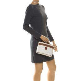 Celine White/Tan Macadam PVC Vanity Bag 222624