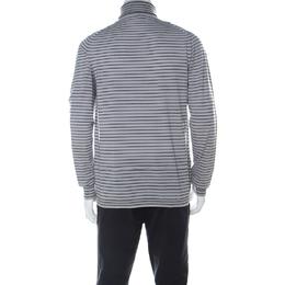 Lanvin Grey Wool Striped Turtle Neck Sweater L 224633