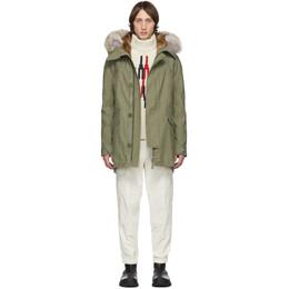 Yves Salomon Khaki Down and Fur Parka 20W9WHM01996F83X