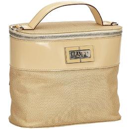 Celine Beige Chemical Fiber Vanity Bag 214399