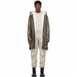 Helmut Lang Grey Transparent Parka Coat 192154M18001104GB