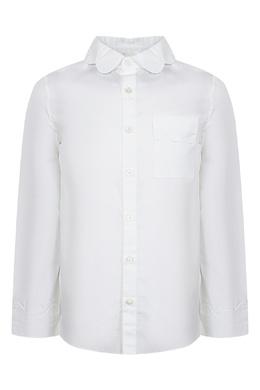 Белая рубашка с фигурной отделкой Burberry Kids 1253151637