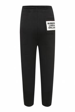 Черные брюки-джоггеры с контрастной нашивкой Burberry Kids 1253151763