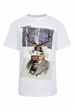 Белая футболка со стилизованным фотопринтом Burberry Kids 1253151748