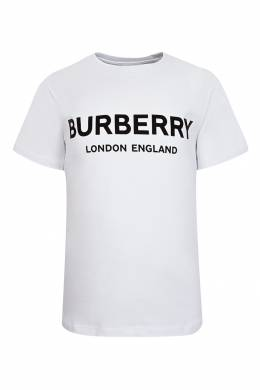 Белая футболка с контрастным логотипом Burberry Kids 1253151747