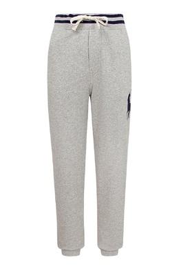 Серые брюки-джоггеры с контрастной отделкой Ralph Lauren Kids 1252151759